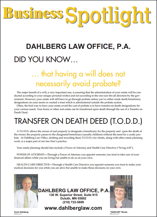 dahlberg_law_office_duluth_budgeteer_transfer_on_death_deed
